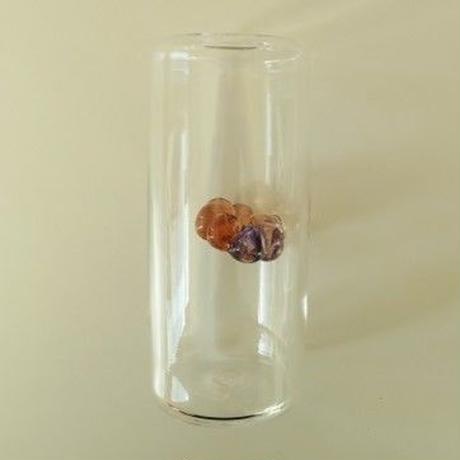 吹きガラス・花瓶(オブジェ)一点もの、 海藤博、パープル&オレンジ