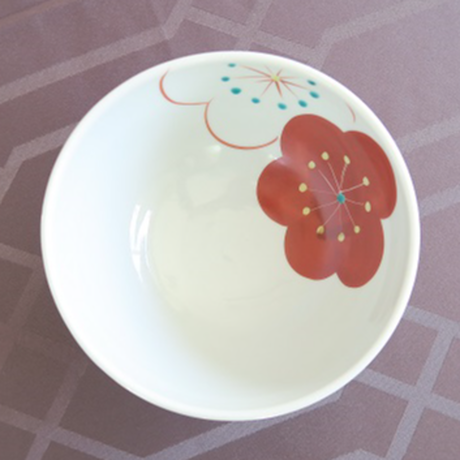 九谷焼、どんぶり(中) 梅文、 赤地 径