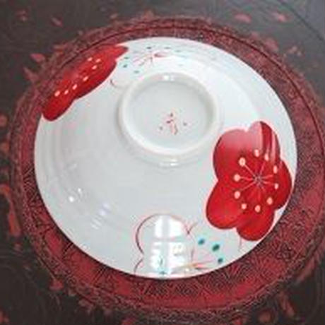 九谷焼、梅文六寸浅鉢、赤地 径、