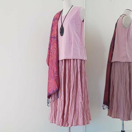 キュプラコットンギャザースカート(シワ加工)+ヴィンテージ天竺ノースリーブ、 grin、 日本製