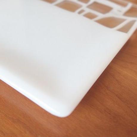 ガラス角中平皿(18cm角)、白、サブロウ
