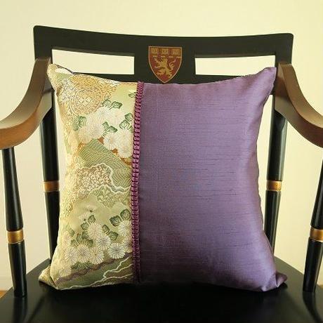 Bi's Original 、新作・金襴クッションカバー 、『翠香』紫① 45cm角用