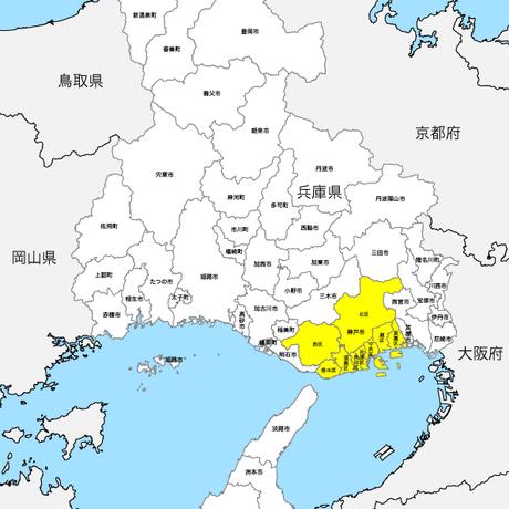 兵庫県 市区町村別 白地図 PDFデータ