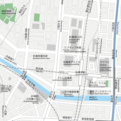 d1ab9241d5e0c 東京 秋葉原 地図フリー素材A4(eps)日本語 英語 並記版
