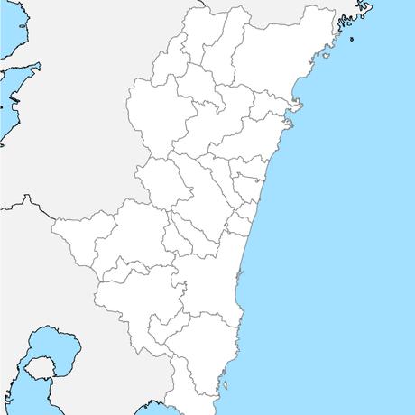宮崎県 市区町村別 白地図 PDFデータ