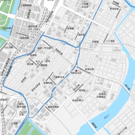 東京 東京駅・銀座・日本橋 ベクター地図データ(eps) 日本語