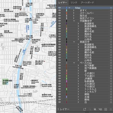 京都  中心部  ベクター地図データ(eps) 中国繁体字 / 英語 並記版