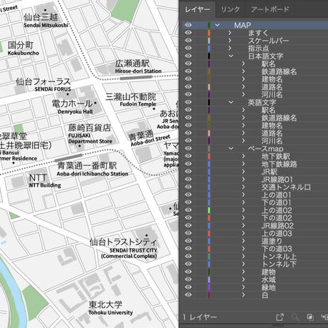 宮城 仙台 ベクター地図データ(eps) 日本語/英語 並記版