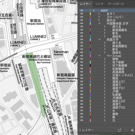 東京 新宿 ベクター地図データ(eps) 繁体語/英語 並記版