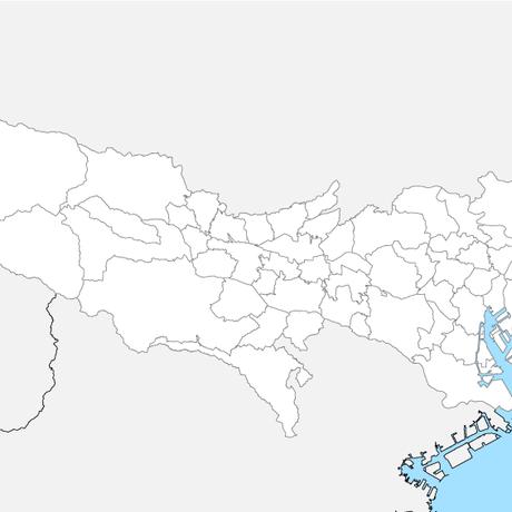 東京都 市区町村別 白地図 PDFデータ