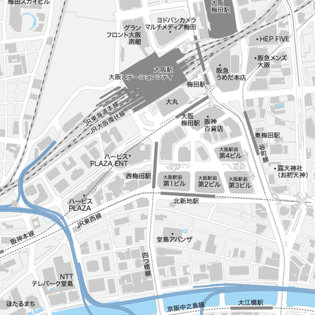 大阪 大阪駅周辺 ベクター地図データ(eps) 日本語