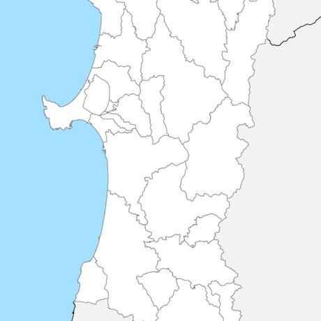 秋田県 市区町村別 白地図 PDFデータ