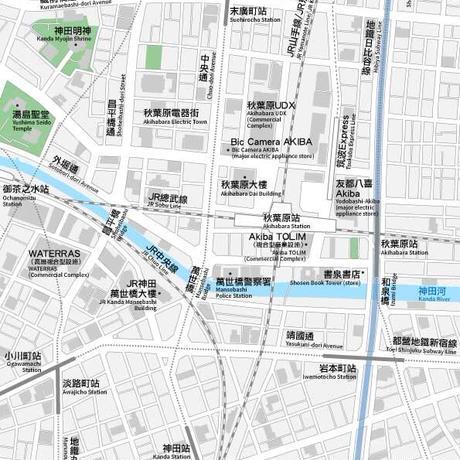 東京 秋葉原 ベクター地図データ(eps) 中国語(繁体字) / 英語 並記版