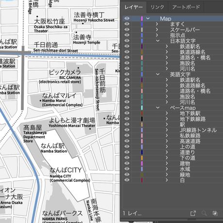 大阪 なんば・心斎橋 ベクター地図データ(eps) 日本語/英語 並記版