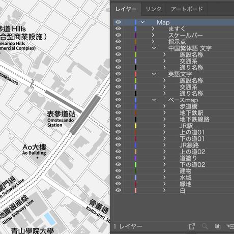 東京 原宿・表参道・青山 ベクター地図データ(eps) 繁体語/英語 並記版