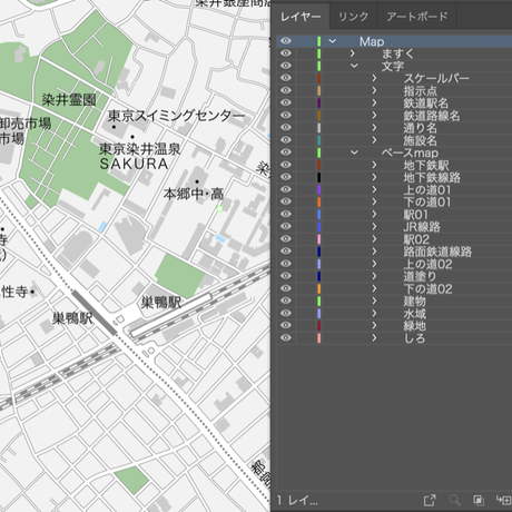 東京 巣鴨・駒込 ベクター地図データ(eps) 日本語