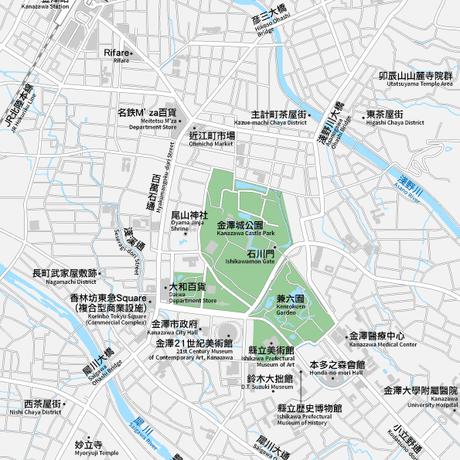 石川 金沢 ベクター地図データ(eps) 繁体語/英語 並記版