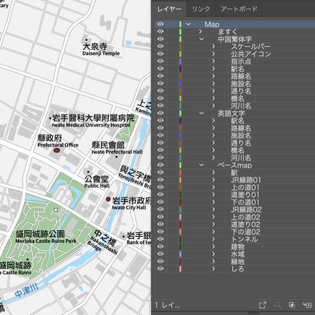 岩手 盛岡 ベクター地図データ(eps) 繁体語/英語 並記版