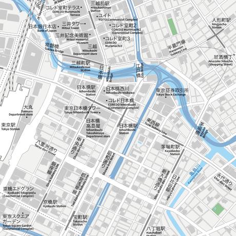 東京 日本橋 ベクター地図データ(eps) 日本語 / 英語 並記版
