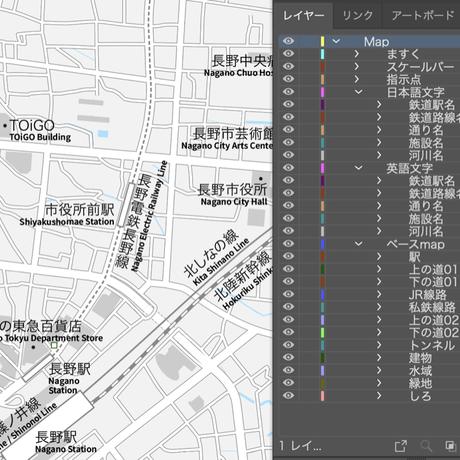 長野 長野駅周辺 ベクター地図データ(eps) 日本語/英語 並記版