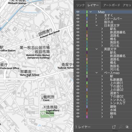 沖縄 那覇 ベクター地図データ(eps) 日本語/英語 並記版