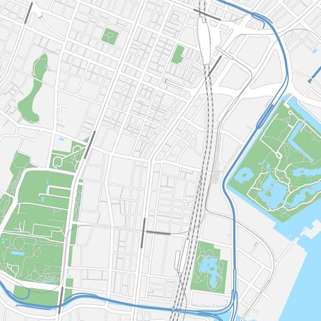 東京 新橋・浜松町 ベクター地図データ(eps) 中国語繁体字 / 英語 並記版