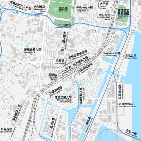 東京 田町・三田・芝浦 ベクター地図データ(eps) 中国語(繁体字) / 英語 並記版