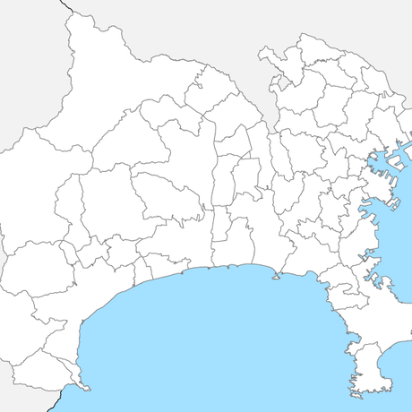神奈川県 市区町村別 白地図 PDFデータ