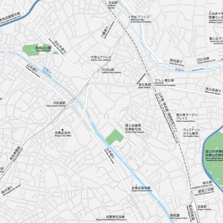 東京 恵比寿・代官山・中目黒 ベクター地図データ(eps) 日本語/英語 並記版
