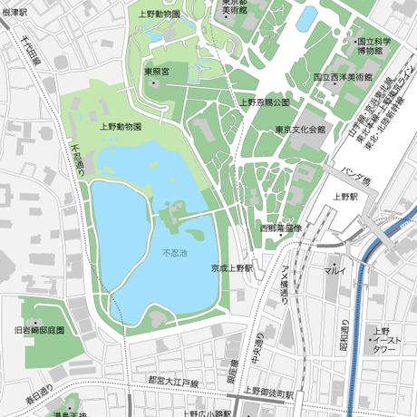 東京 上野 ベクター地図データ(eps) 日本語