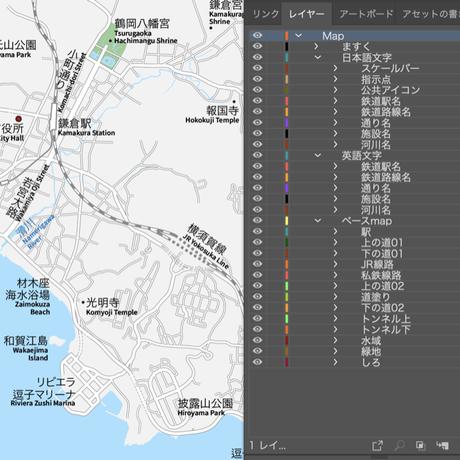神奈川 江ノ電・鎌倉・逗子 ベクター地図データ(eps) 日本語/英語 並記版