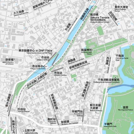 東京 飯田橋・市ヶ谷・四ツ谷 ベクター地図データ(eps) 中国語繁体字 / 英語 並記版