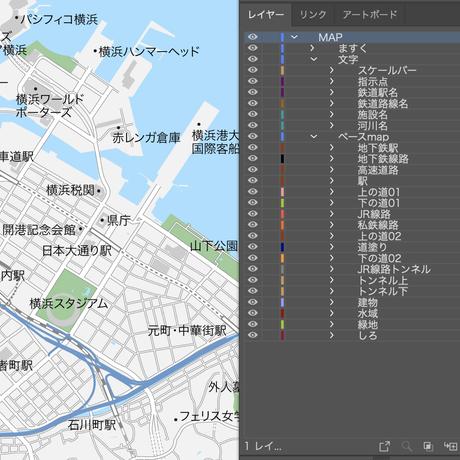 神奈川 横浜 ベクター地図データ(eps) 日本語