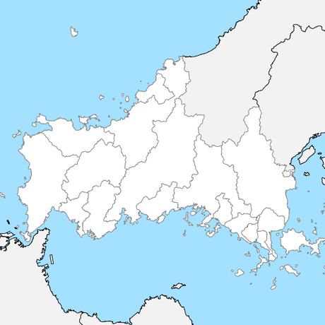 山口県 市区町村別 白地図 PDFデータ