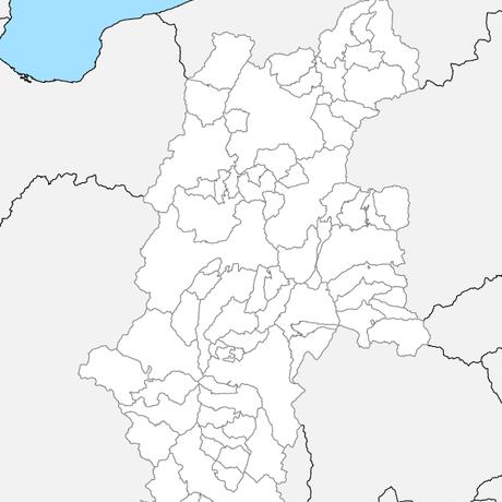 長野県 市区町村別 白地図 PDFデータ