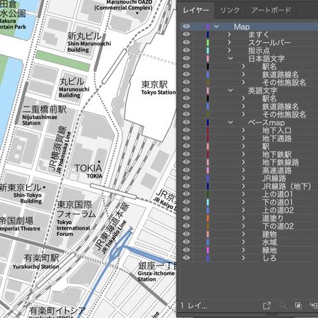 東京 丸の内・皇居 ベクター地図データ(eps) 日本語/英語 並記版