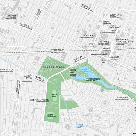 東京 三鷹・吉祥寺 ベクター地図データ(eps) 日本語/英語 並記版