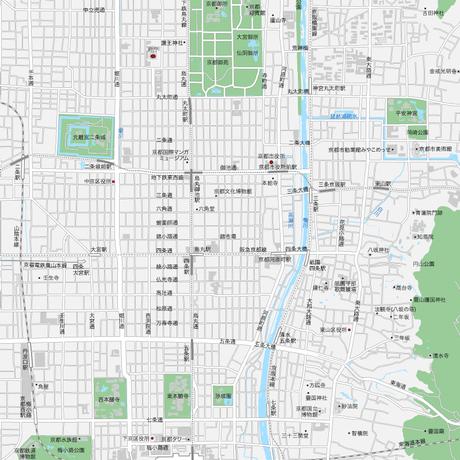 京都  中心部 ベクター地図データ(eps) 日本語