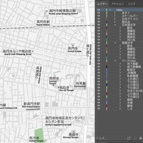 東京 阿佐ヶ谷・高円寺 ベクター地図データ(eps) 日本語/英語 並記版