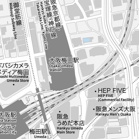 大阪 大阪駅周辺 ベクター地図データ(eps) 日本語/英語 並記版