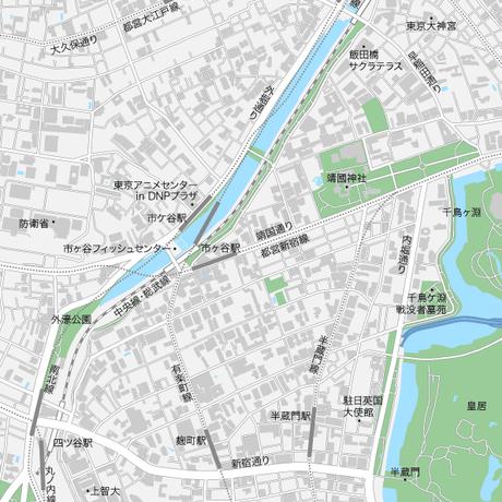 東京 飯田橋・市ヶ谷・四ツ谷 ベクター地図データ(eps) 日本語