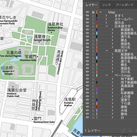 東京 浅草 ベクター地図データ(eps) 日本語/英語 並記版