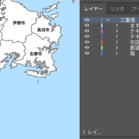 三重県 市区町村別 白地図データ(eps)
