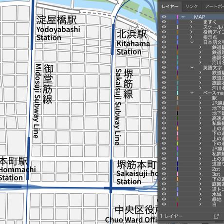 大阪広域 梅田・天王寺 ベクター地図データ(eps) 日本語/英語 並記版