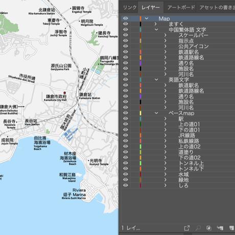 神奈川 江ノ電・鎌倉・逗子 ベクター地図データ(eps) 中国語(繁体字) / 英語 並記版
