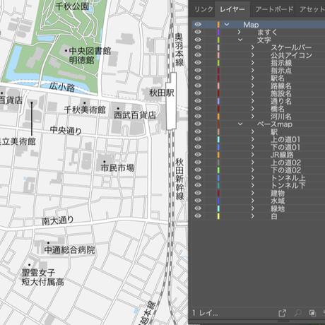 秋田 秋田駅周辺 ベクター地図データ(eps) 日本語