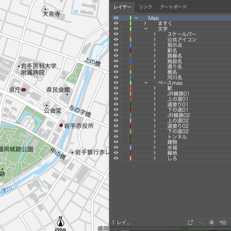 岩手 盛岡 ベクター地図データ(eps) 日本語