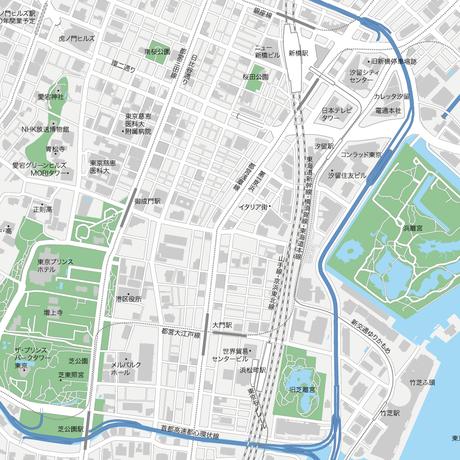 6127cd11cbaf0 A3東京 新橋・浜松町 地図フリー素材(eps)日本語