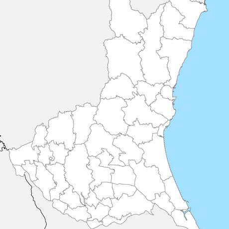 茨城県 市区町村別 白地図 PDFデータ