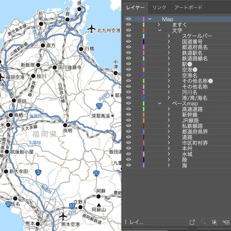 九州全域(島嶼部以外) 道路地図 ベクター素材(eps)日本語